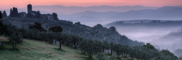 Tuscany Sunrise With Church Panorama
