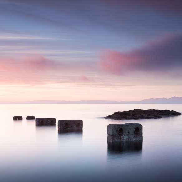 Troon sunset with concrete. Long exposure.